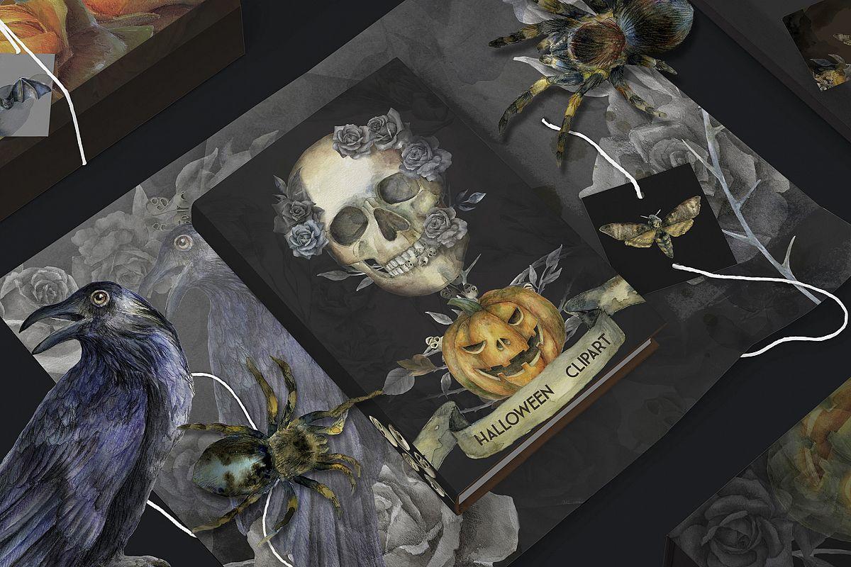 Halloween watercolor pack, Jack o Lantern pumpkin, wreath example image 1