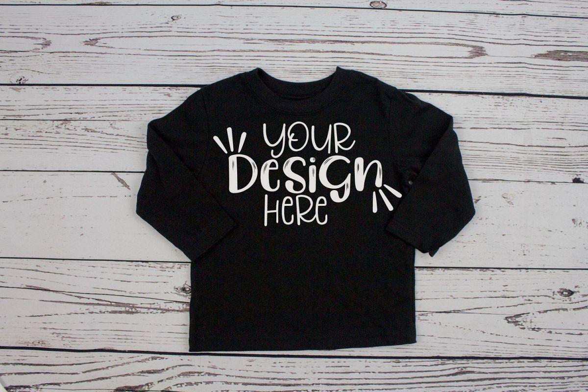 c156b1e6d Black long sleeve toddler t-shirt mockup example image 1