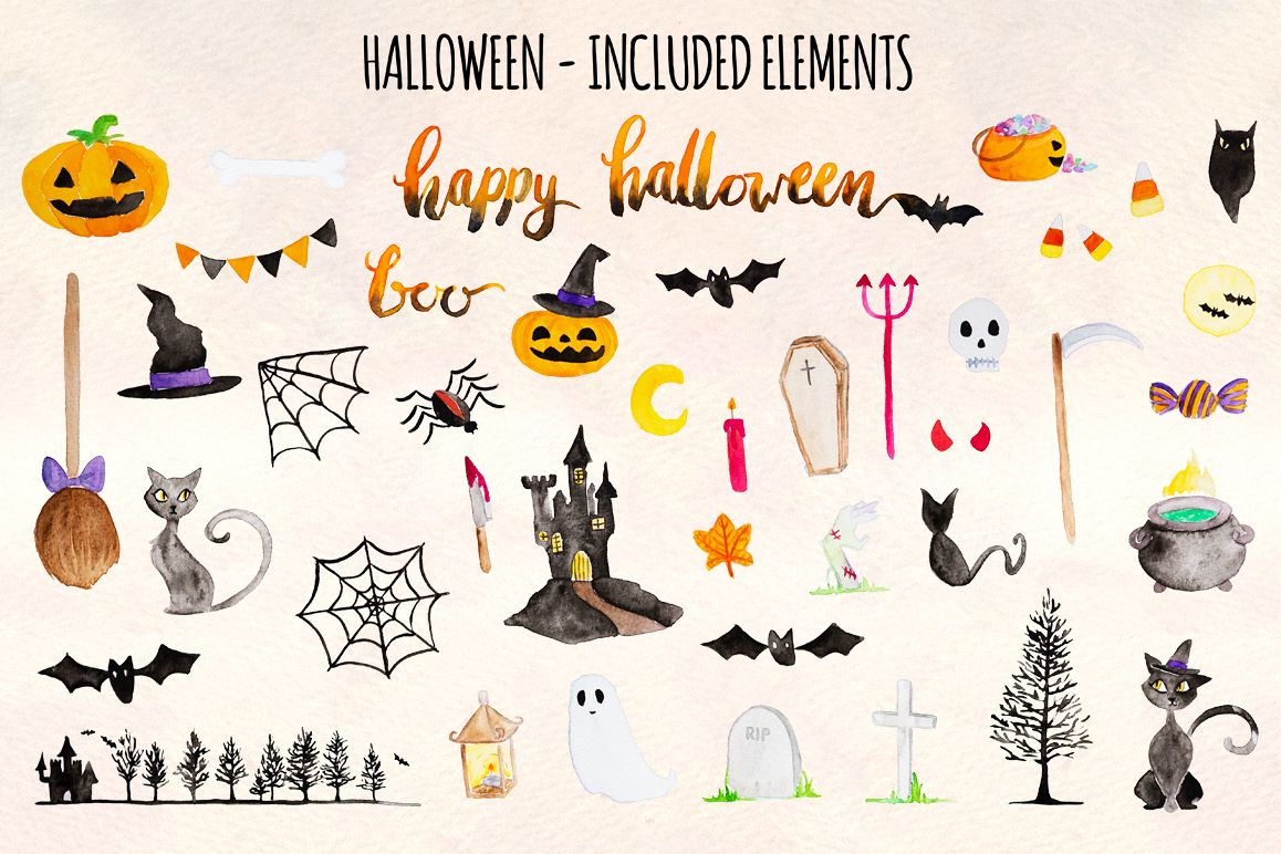 Happy Halloween 42 Cute Spooky Watercolor Elements example image 1