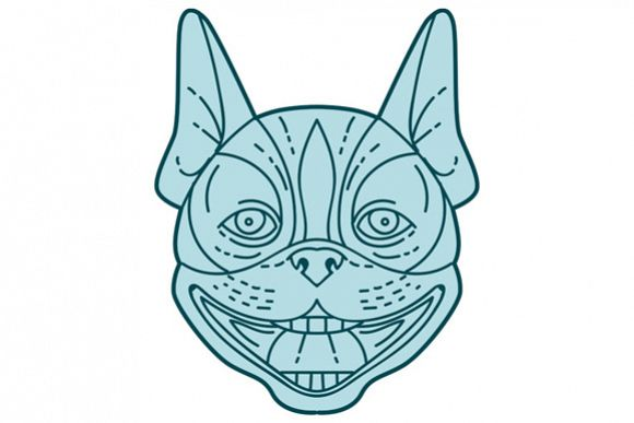 Boston Terrier Laughing Circle Mono Line example image 1