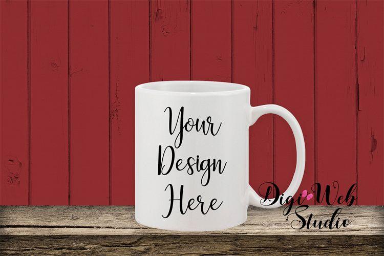 Coffee Cup Mockup - Coffee Mug w/ Farmhouse Red Shiplap example image 1