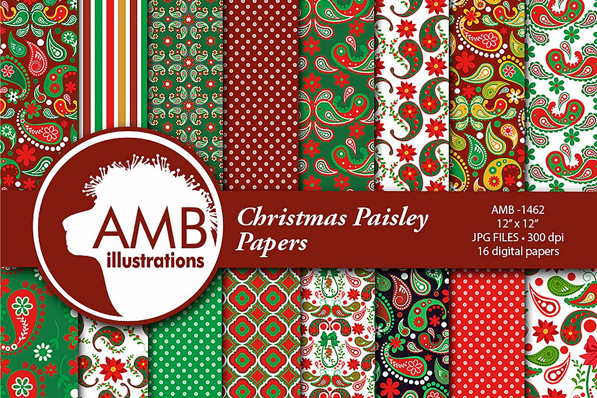 Christmas Paisley Patterns, Christmas Papers, AMB-1462 example image 1