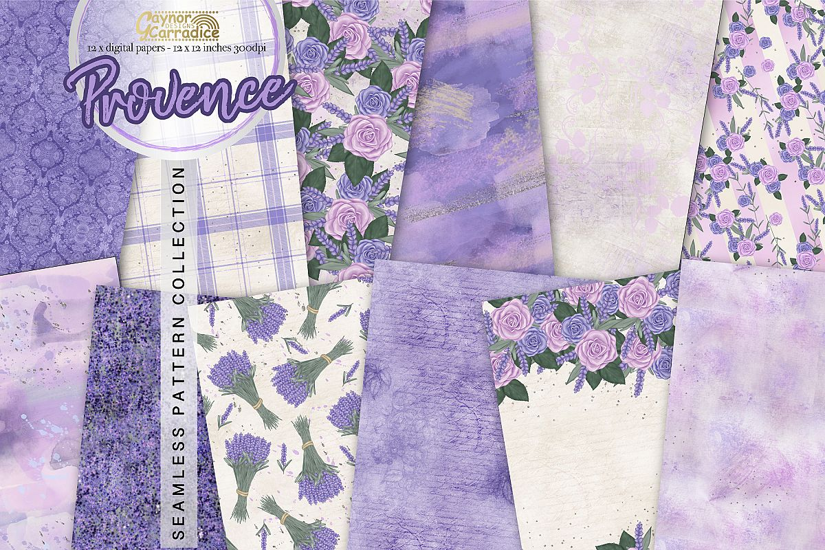 Provence - lavender Seamless Pattern collection example image 1