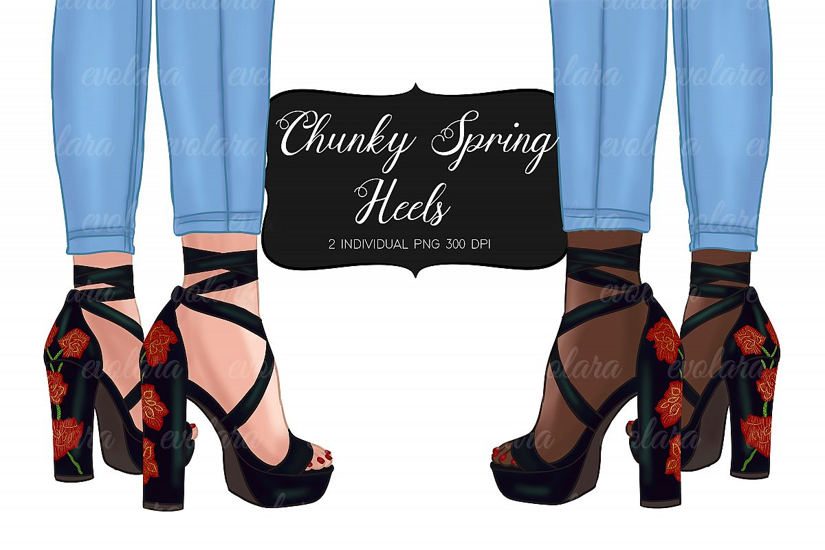 High Heel Shoes Clipart Black Heels Fashion Illustrations example image 1