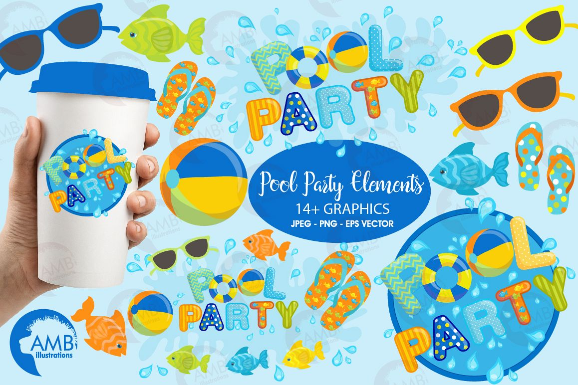 Pool party elements clipart, graphics pack AMB-1260 example image 1