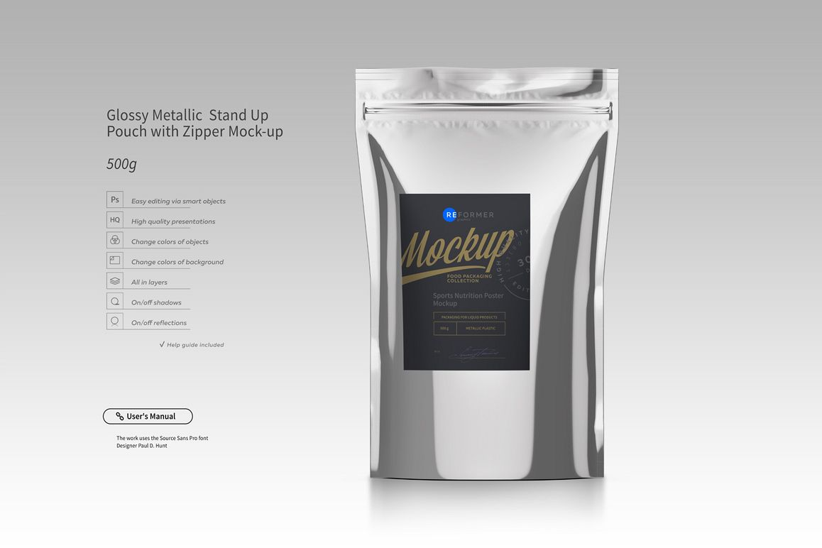 Metallic Stand Up Pouch with Zipper Mockup example image 1