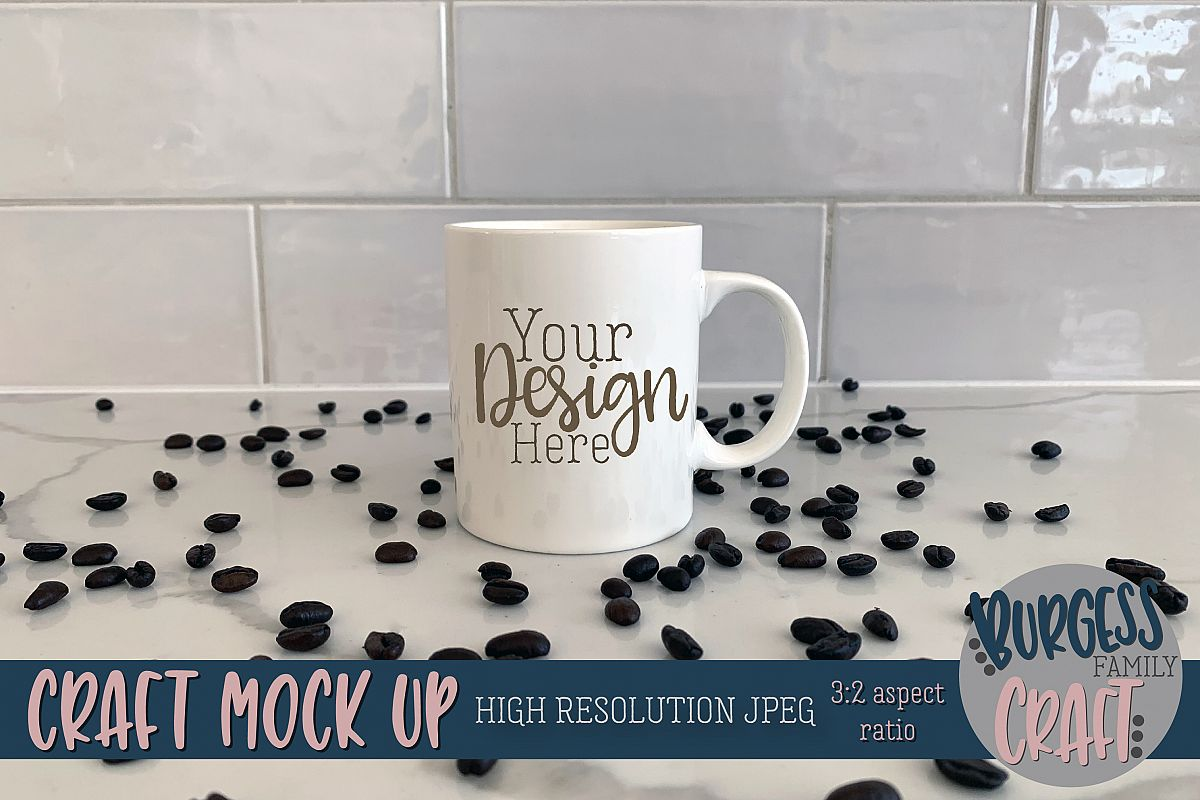 White coffee mug Craft mock up|High Resolution example image 1