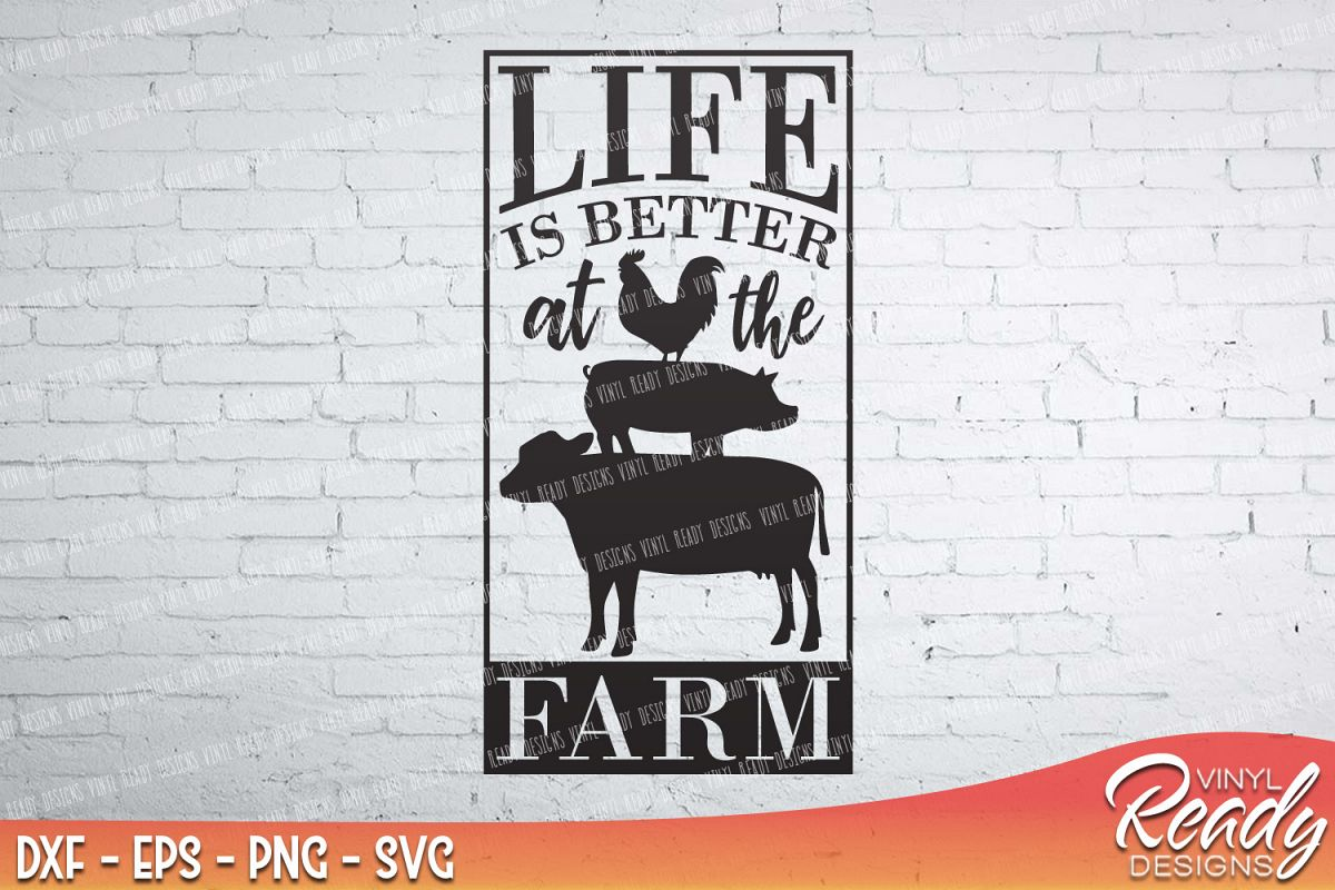 Life Is Better At The Farm Cow Pig Rooster Home Vector