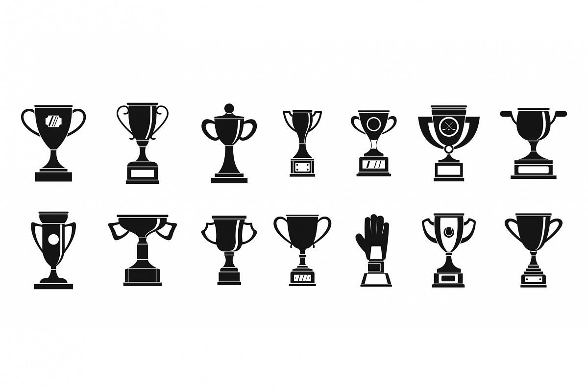 Trophy cup icon set, simple style example image 1