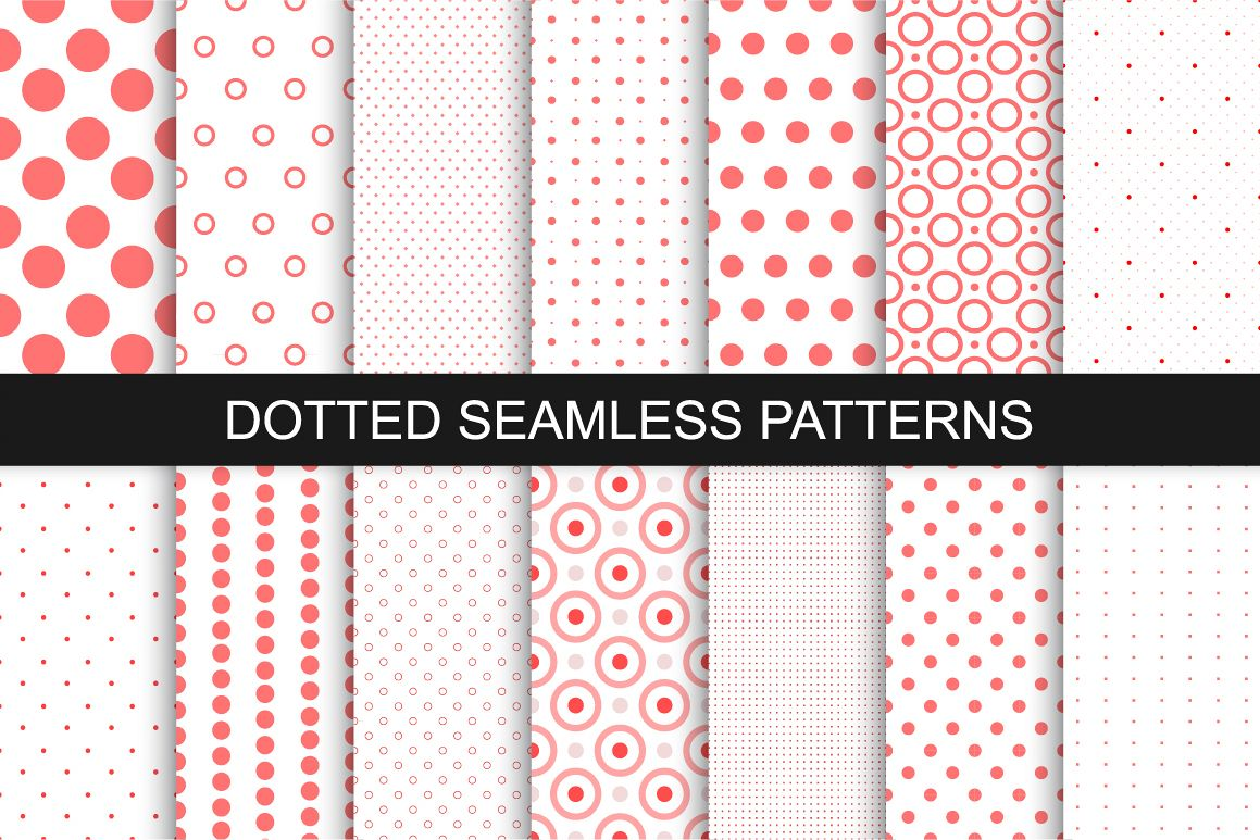 Dotted seamless patterns. Vector set example image 1