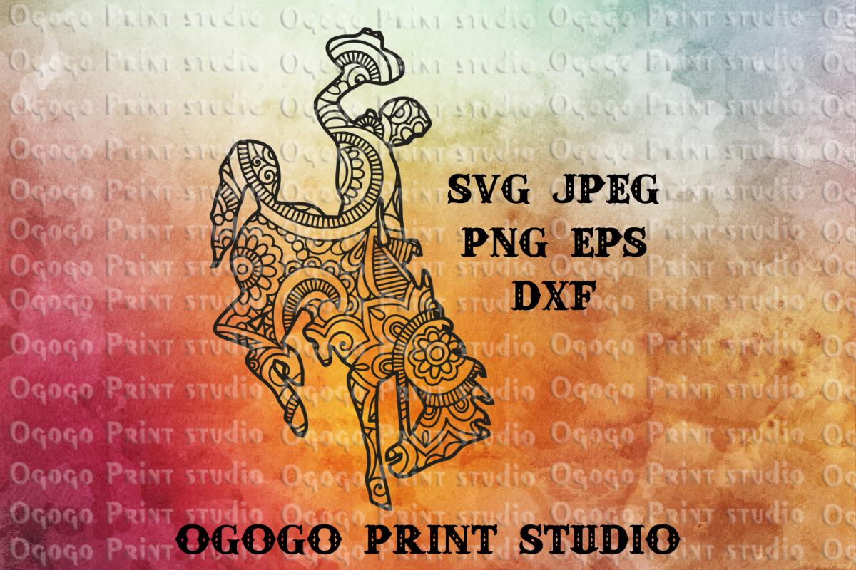 Wyoming bucking horse svg, Zentangle SVG, Mandala svg,Cricut example image 1