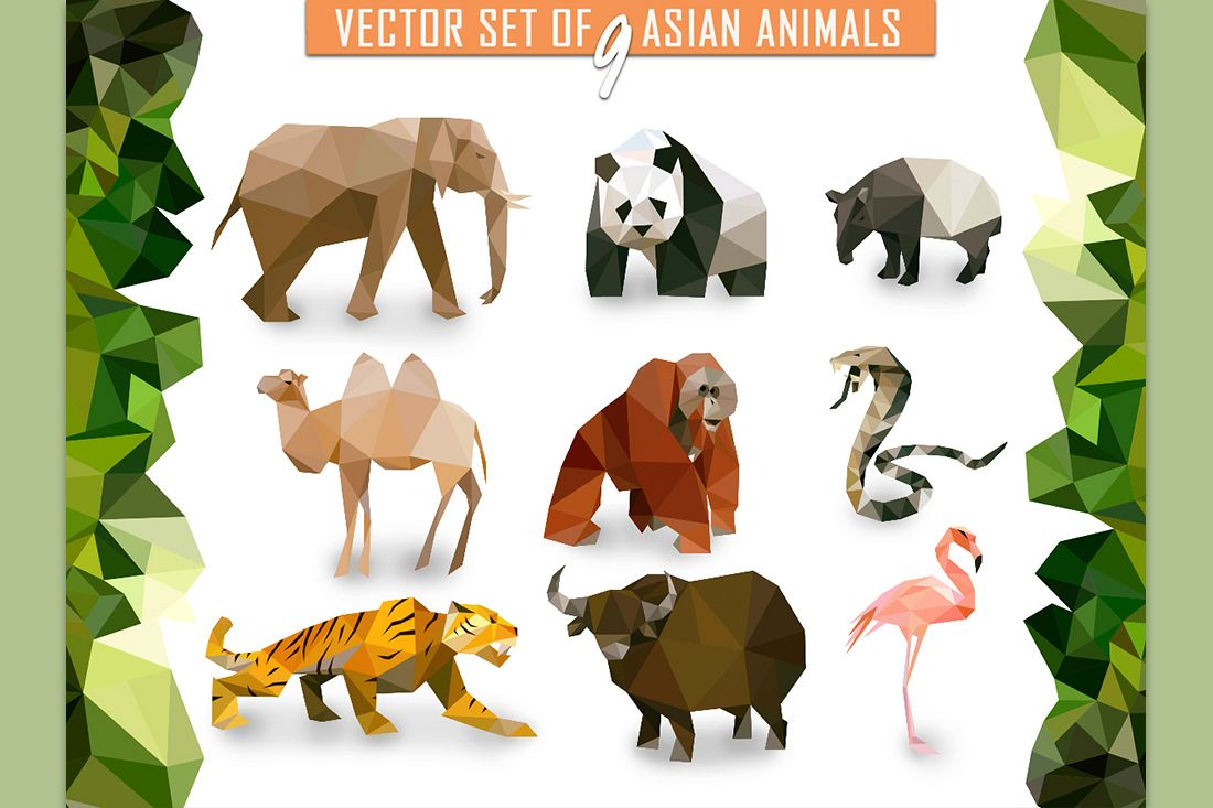 9 vector Asian animals in low poly style example image 1