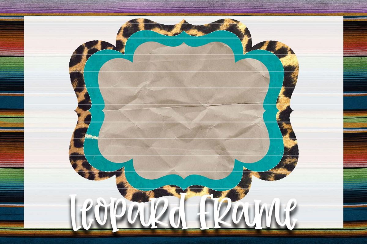 Teal & Leopard Frame Background Element example image 1