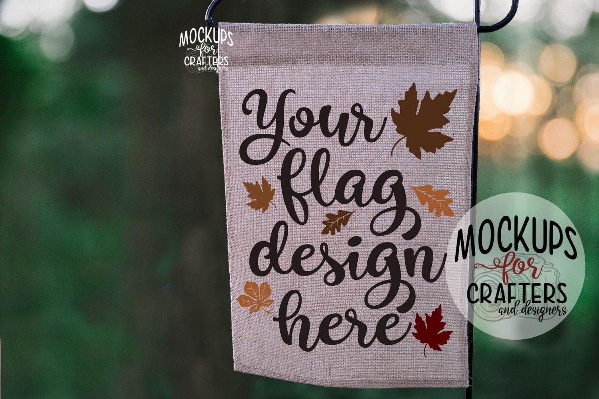 MOCK-UP - Straight Top Burlap Flag 12x18, example image 1