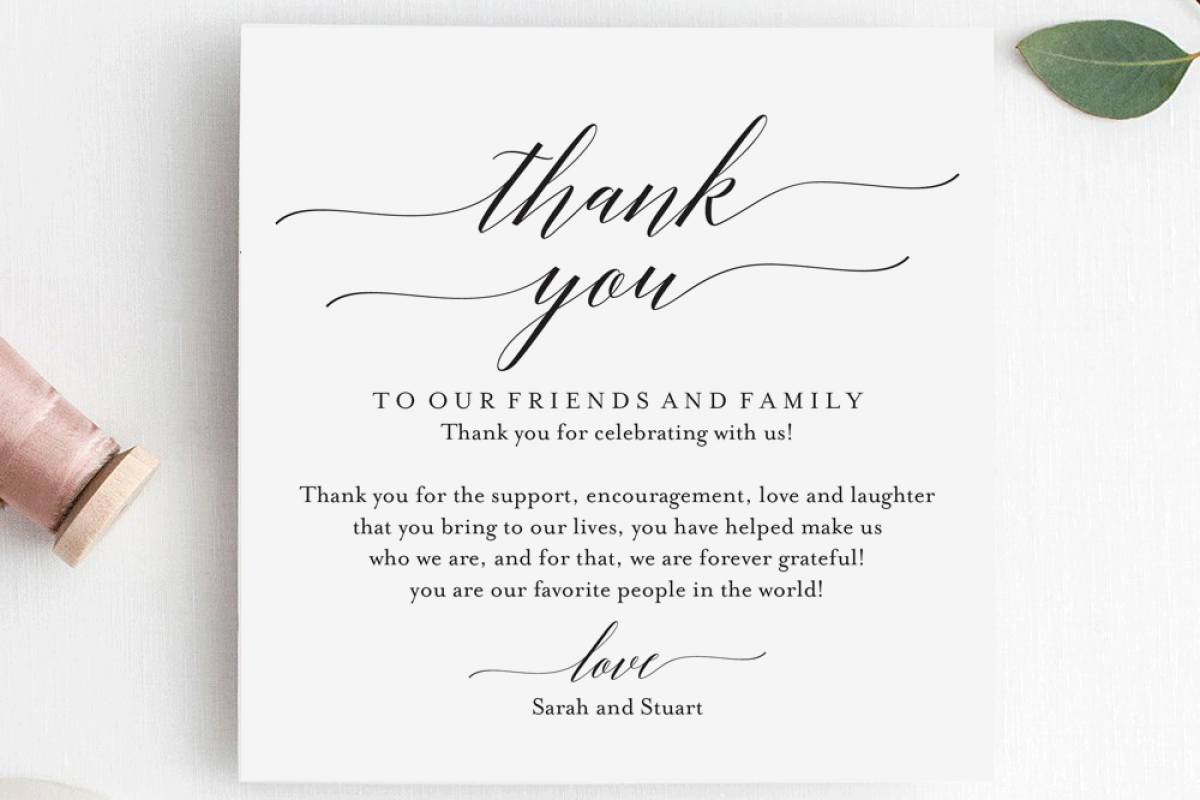Wedding Thank You Card Printable Table