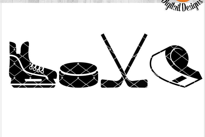 Hockey Love EKG SVG - png - eps - dxf - ai - fcm - Hockey SVG - Silhouette - Cricut - Scan N Cut - Hockey Love SVG example image 1