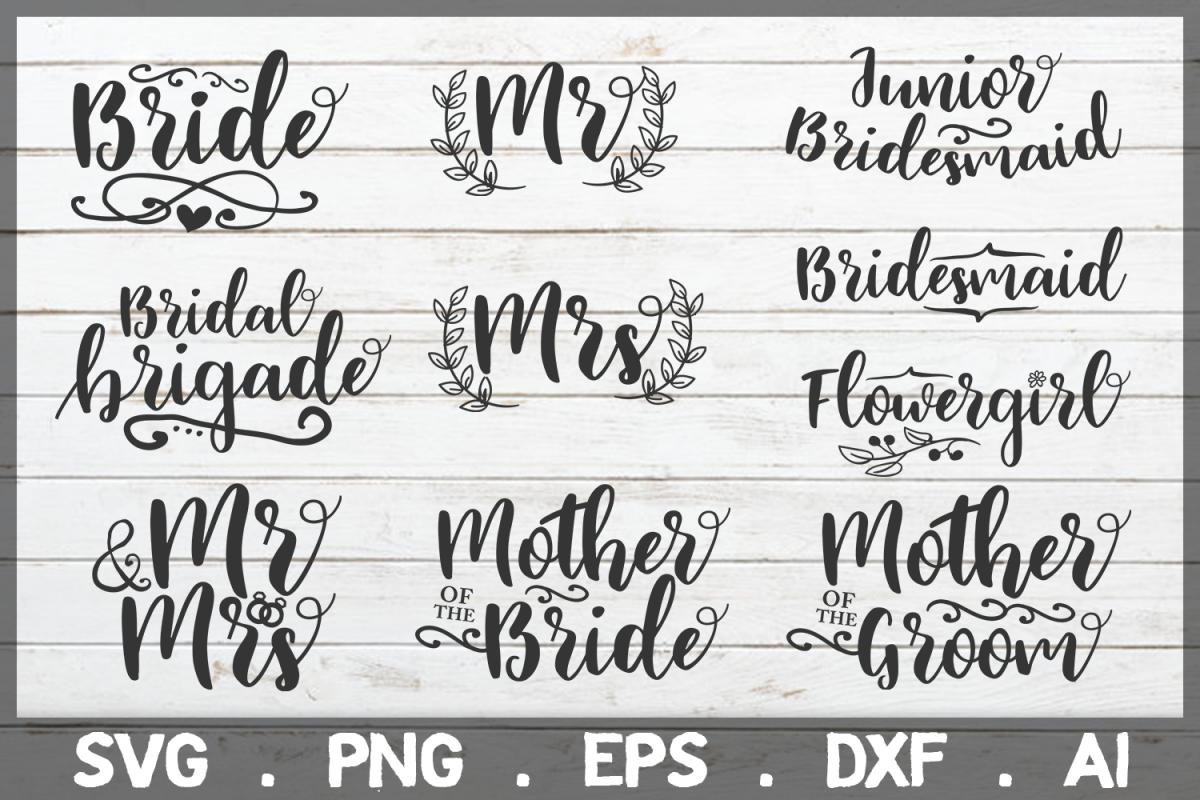 SALE! Bride svg, Bridesmaid svg, groom svg, wedding svg example image 1