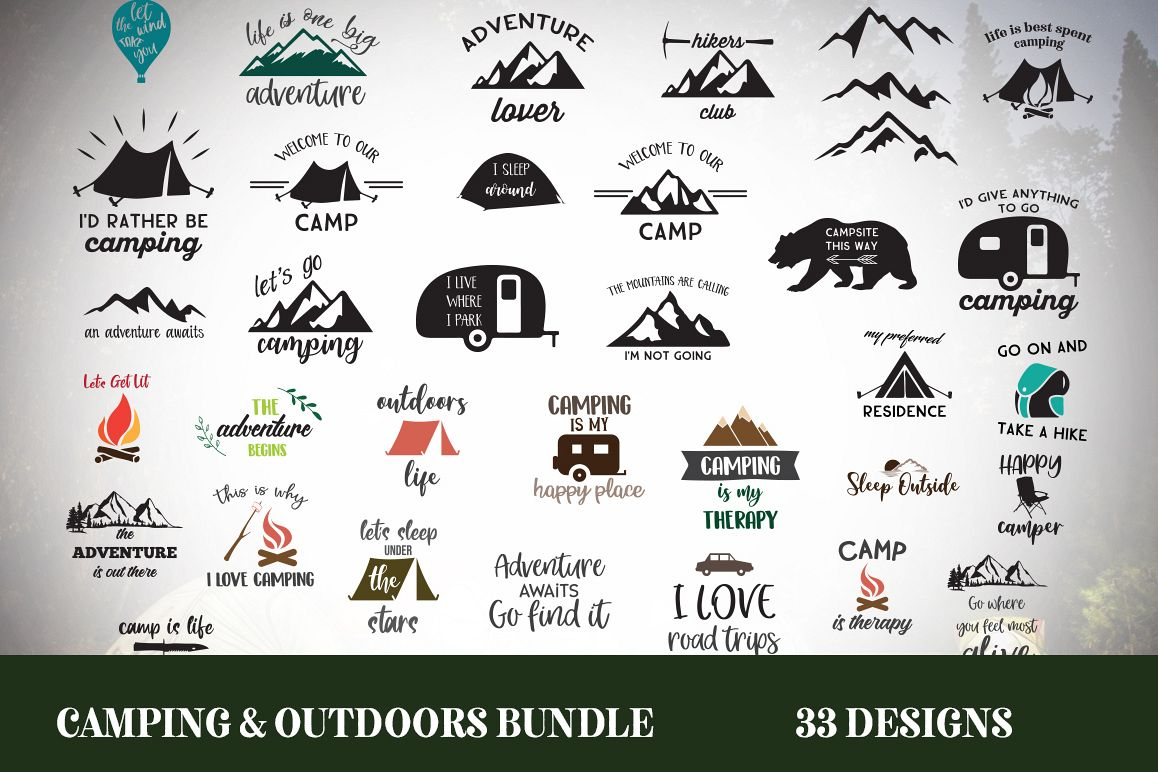 Camping SVG Bundle   SVG, EPS, PNG, JPG example image 1