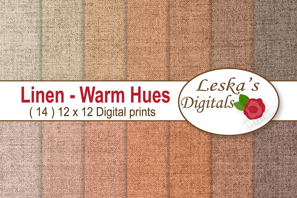 Linen Background Digital Paper - Warm Hues example image 1