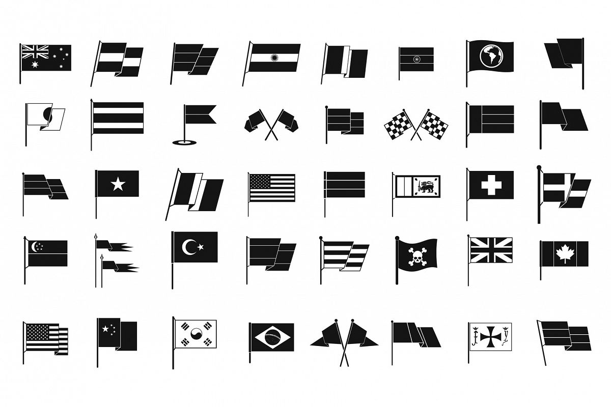 Flag icon set, simple style example image 1