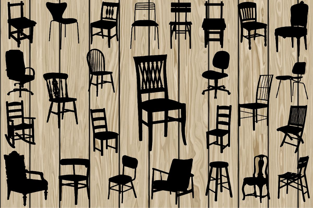 26 Chair SVG, Chair EPS, Chair Vector, Chair Silhouette Clipart, Cutting File, Chair Printable, furniture SVG, furniture Eps, furniture Dxf. example image 1