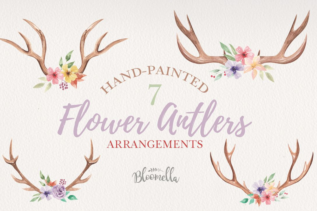 Antlers Floral 7 Bouquets Watercolor Elegant Stag Flowers example image 1