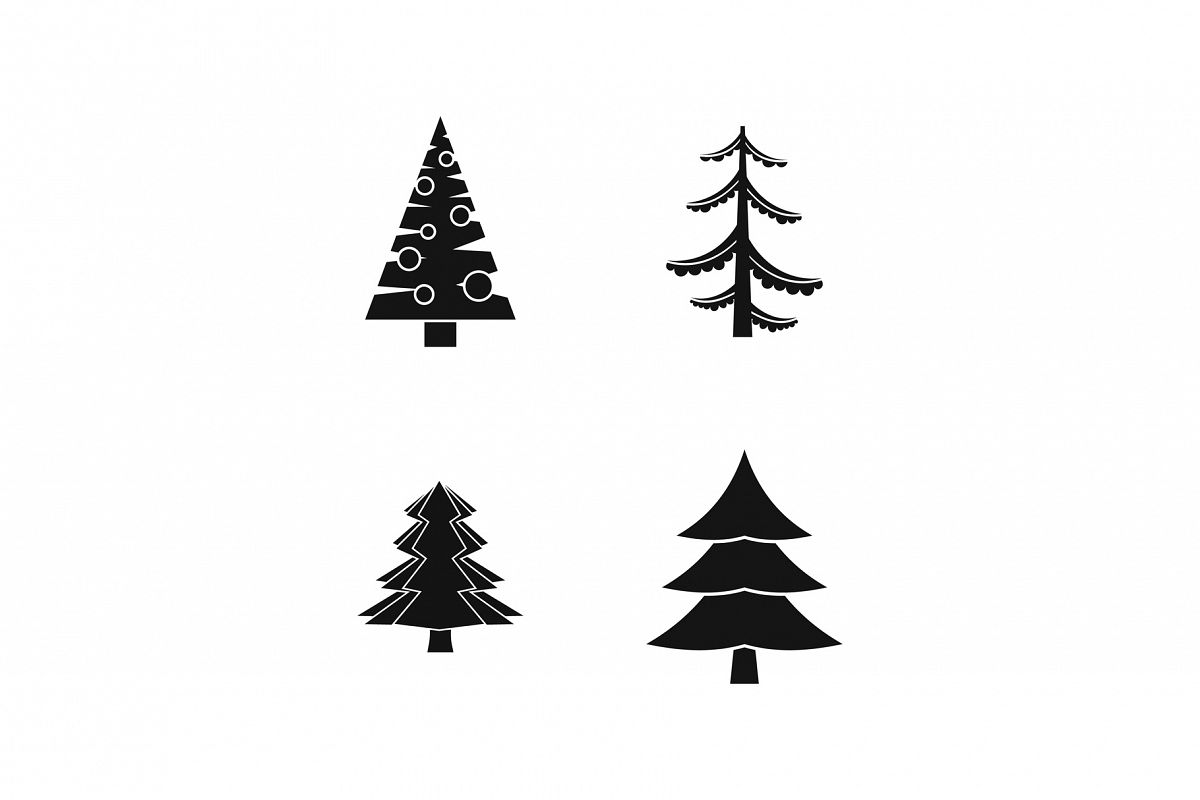 Fir tree icon set, simple style example image 1