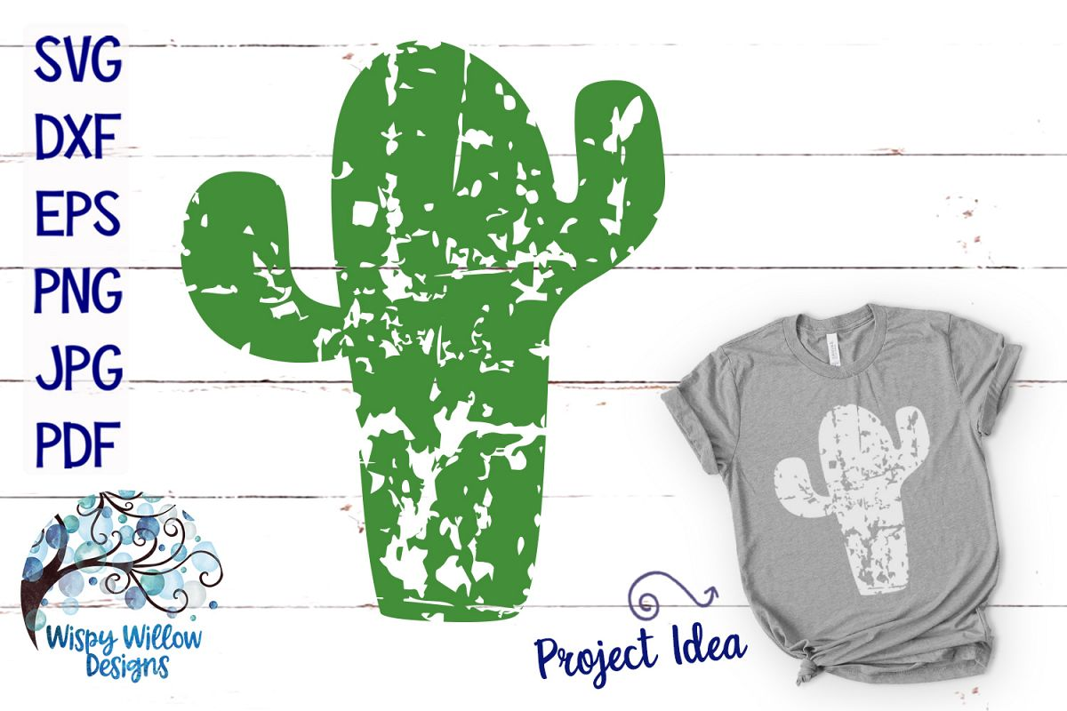 Distressed Cactus SVG example image 1