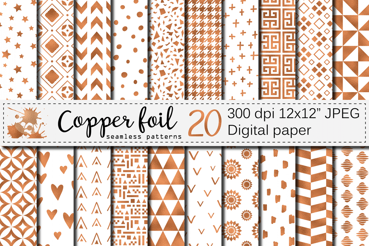 Copper foil seamless geometric patterns / digital papers example image 1