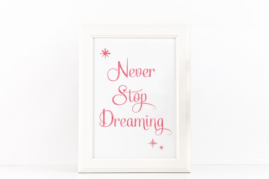 Never Stop Dreaming Poster Inspirational Quote to Print in Coral Pink Watercolor + SVG files example image 1