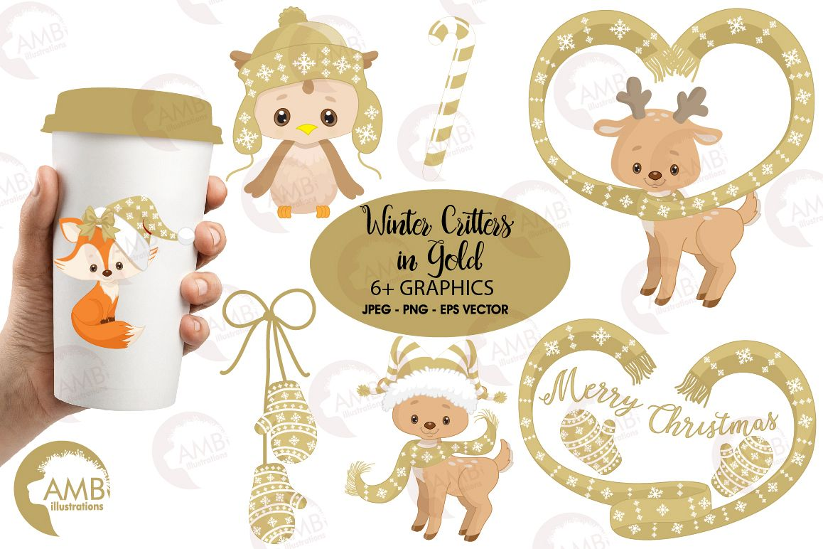 Christmas Critters, Christmas animals clipart, graphics, illustrations AMB-1526 example image 1
