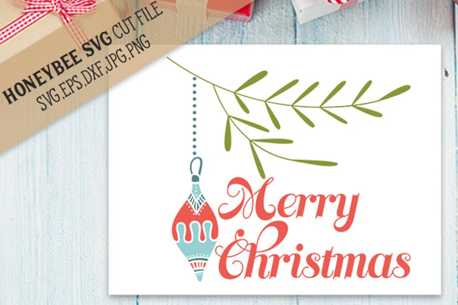 Merry Christmas Ornament svg example image 1