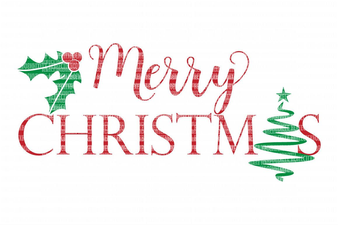 Merry Christmas Tree Holly SVG Files Cut Files Heat Transfer Vinyl Scrapbooking Stencil EPS DXF Silhouette Cameo Cricut Commercial Use example image 1