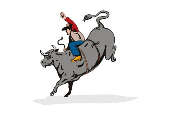 Rodeo Cowboy Bull Riding Retro example image 1