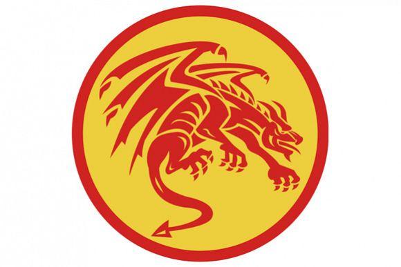 Dragon Gargoyle Crouching Circle Retro example image 1