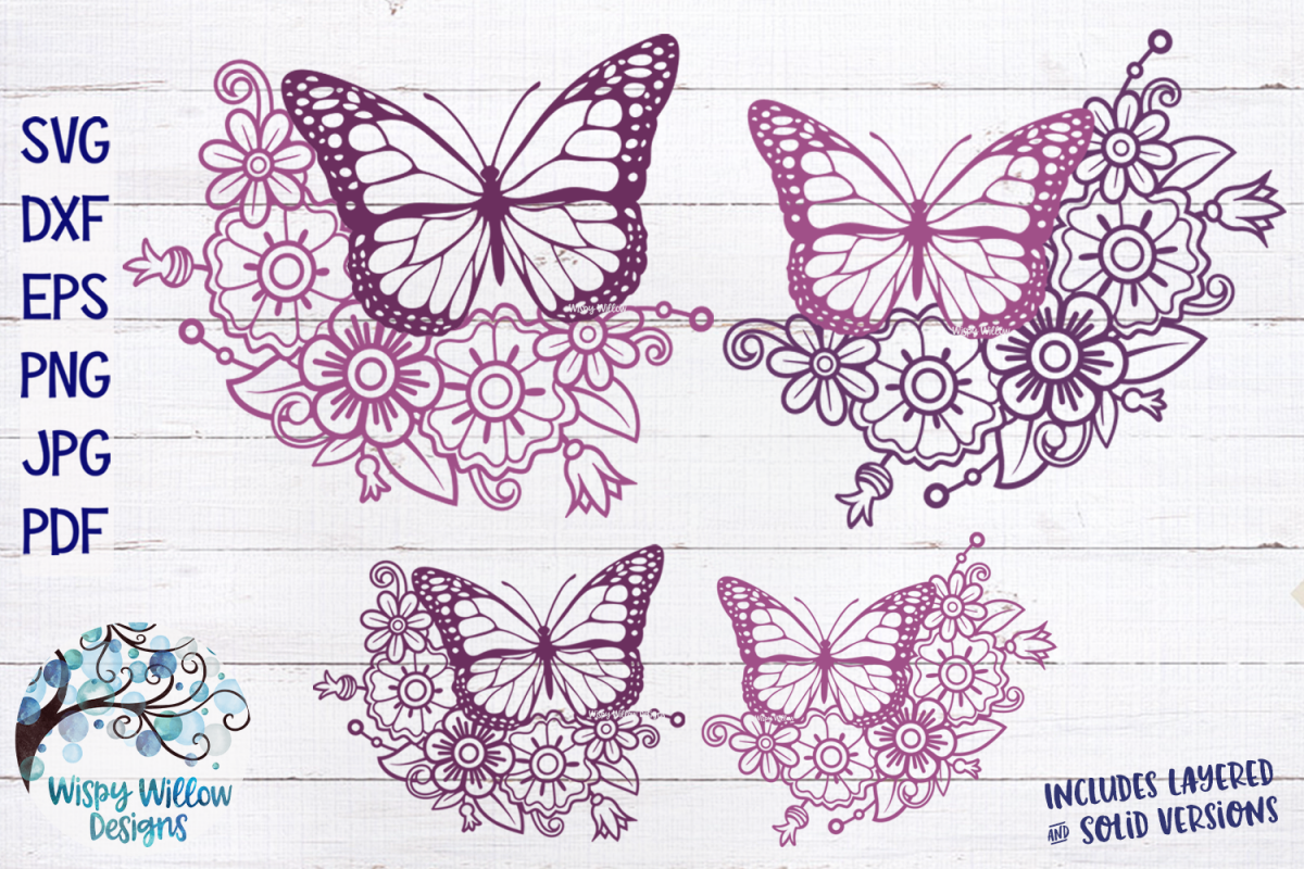 Floral Butterfly Bundle SVG |Butterfly and Flowers SVG example image 1
