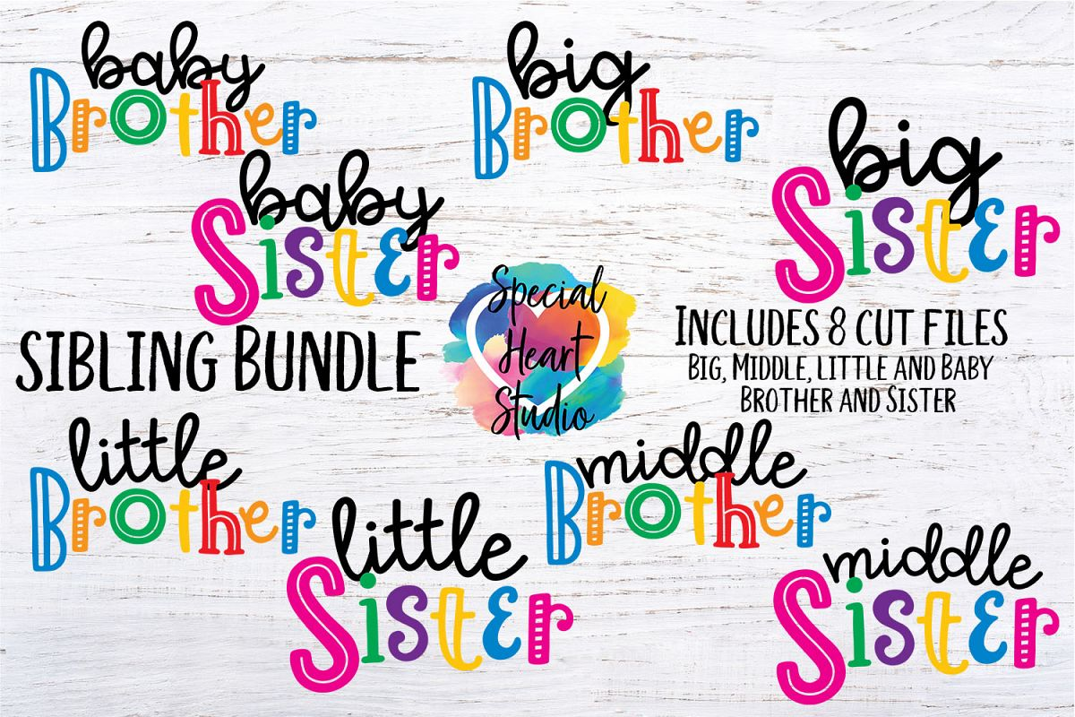 Sibling Bundle - A set of brother and sister SVG designs example image 1