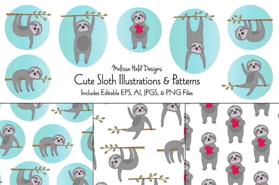 Cute Sloth Illustrations & Patterns example image 1