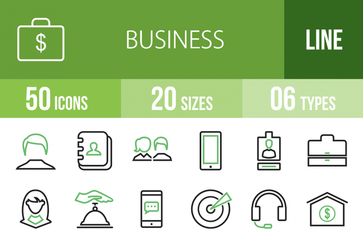 50 Business Line Green & Black Icons example image 1