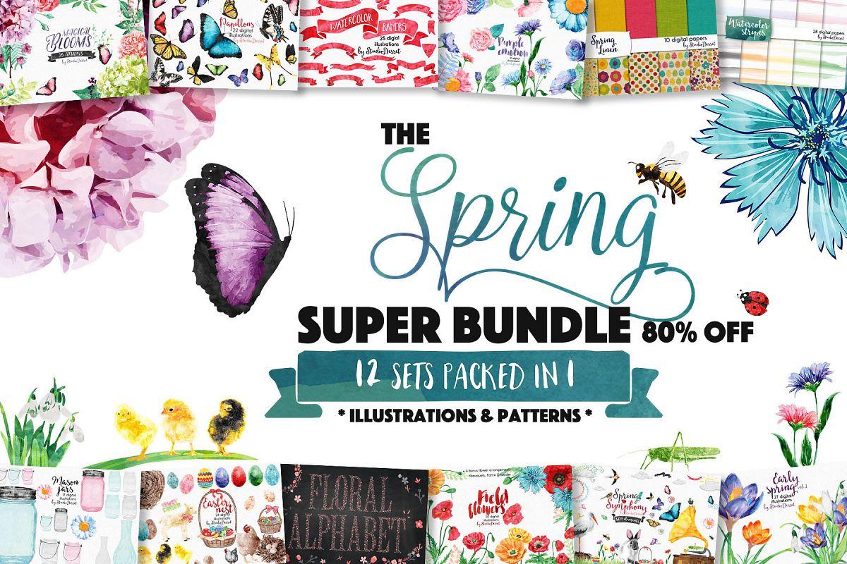 Spring Bundle of Illustrations & Patterns - Sublimation PNG example image 1