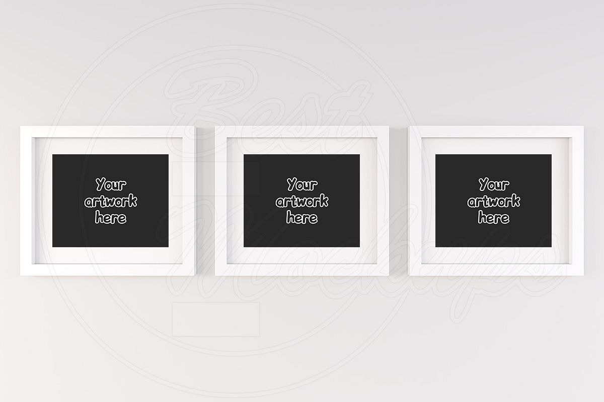 Three White Matted Frame Mockup 8x10