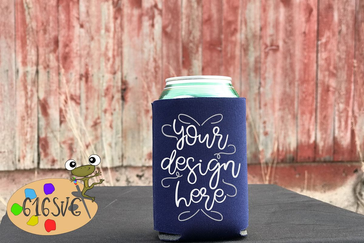 Navy Blue Can Cooler Mockup example image 1