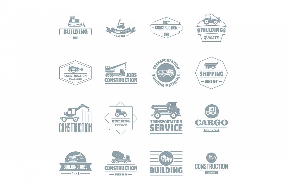 Building vehicles logo icons set, simple style example image 1