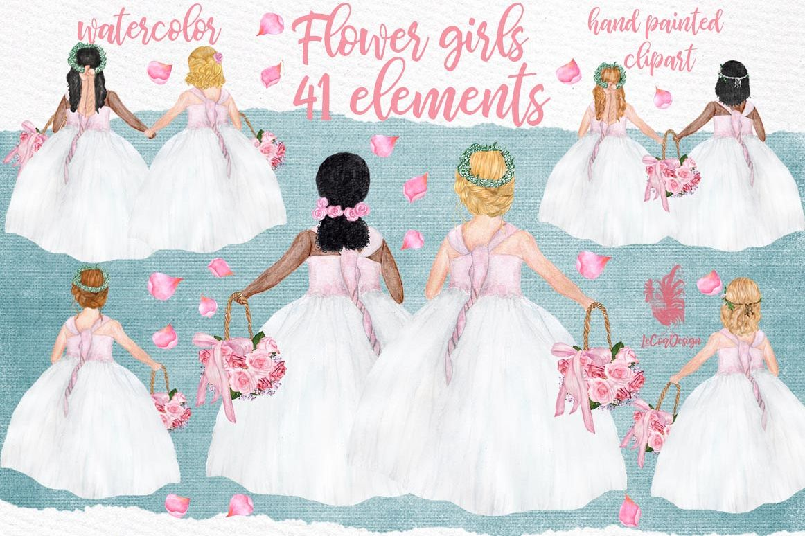 Flower girl clipart Wedding clipart Girls clipart example image 1
