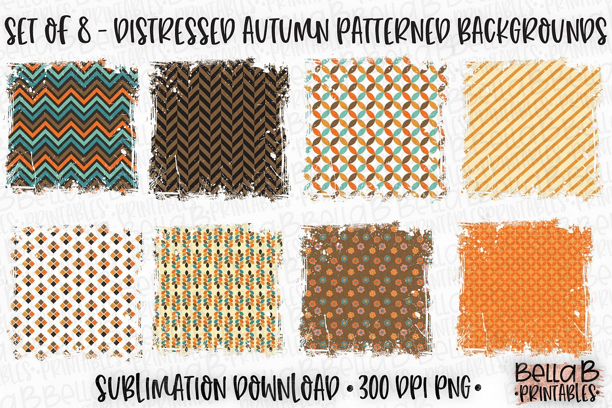 Autumn Fall Sublimation Background Bundle, Autumn Pattern example image 1