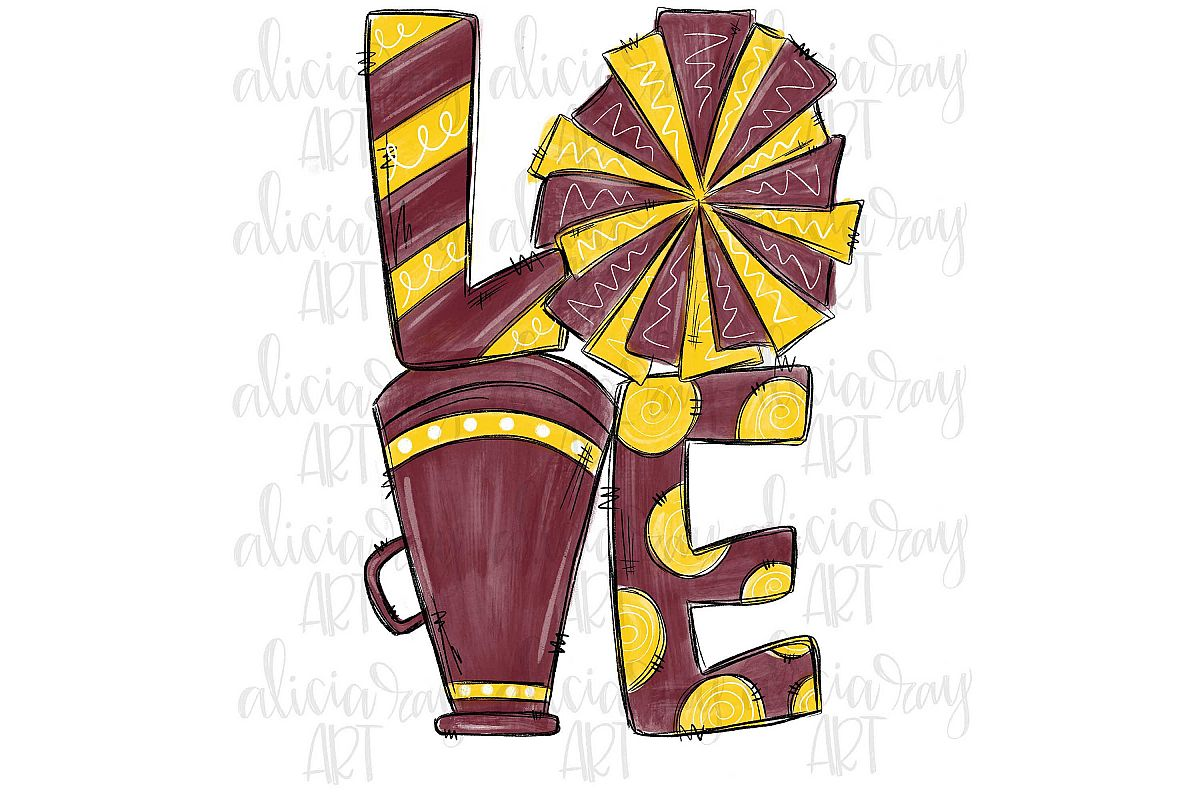 Cheer Love Maroon and Yellow/Gold example image 1