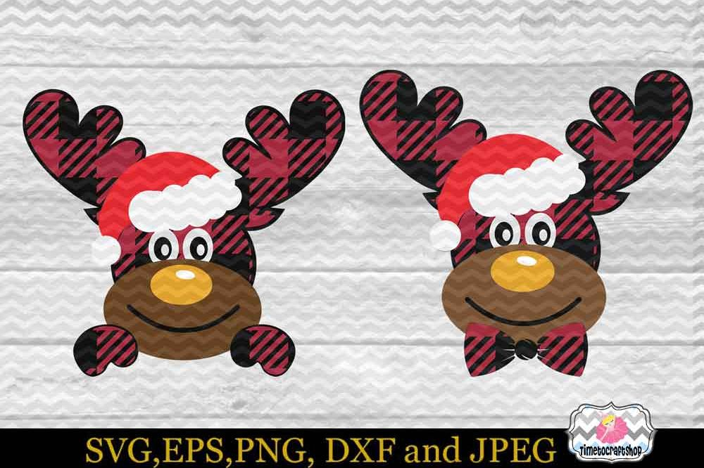 2 Styles Christmas Santa Buffalo Plaid Moose Set example image 1