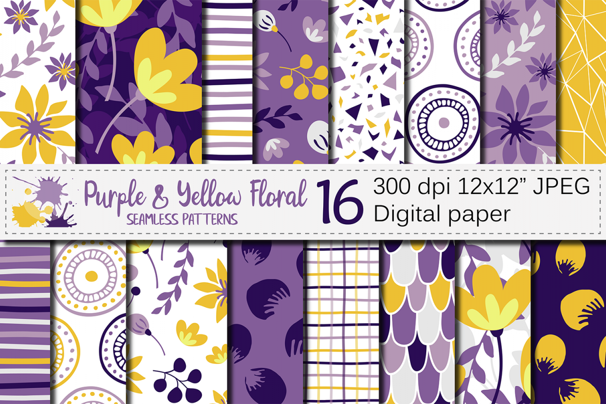Purple and yellow floral seamless digital paper, patterns example image 1