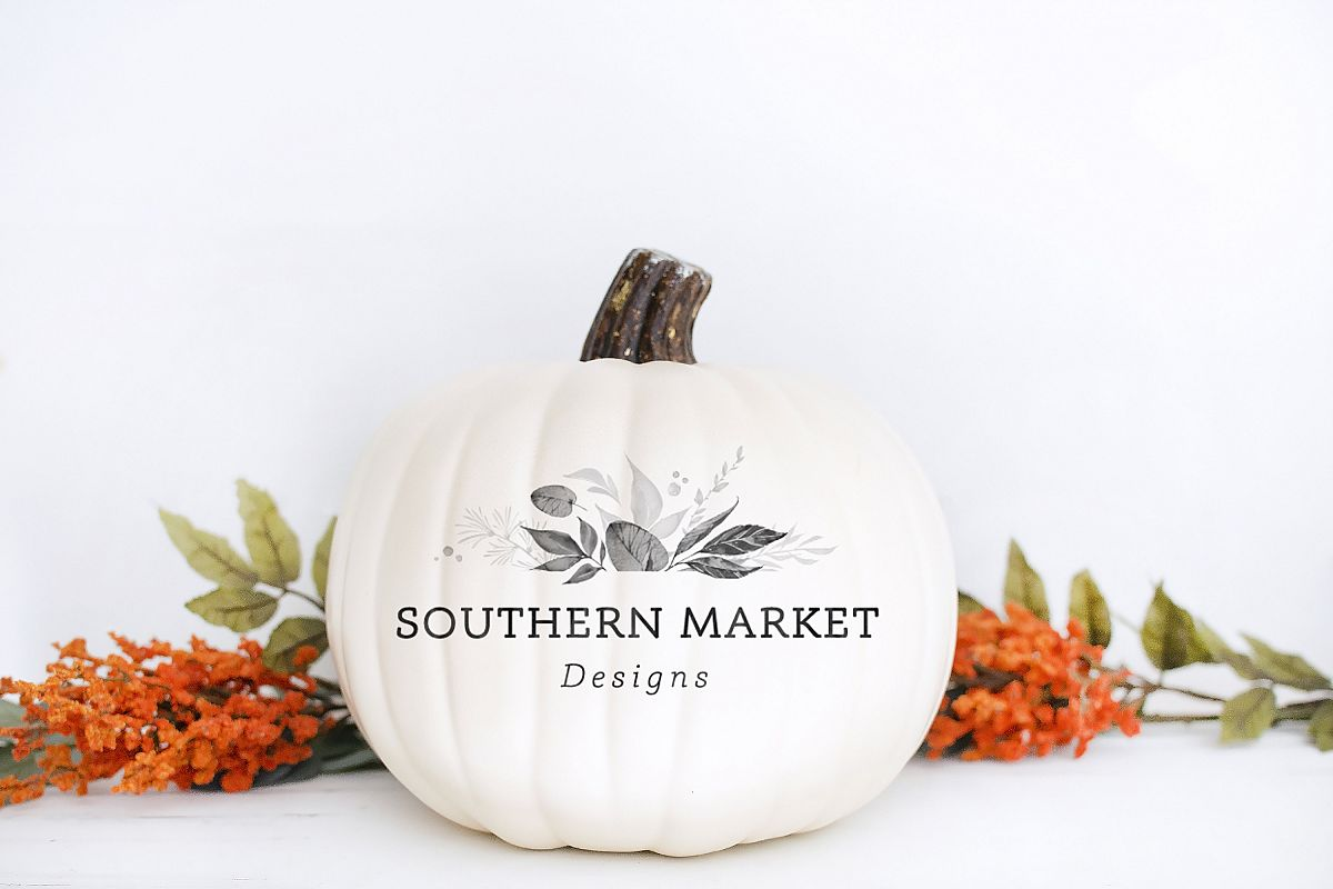 Blank Pumpkin Fall Decal Mock Up Stock Photo example image 1