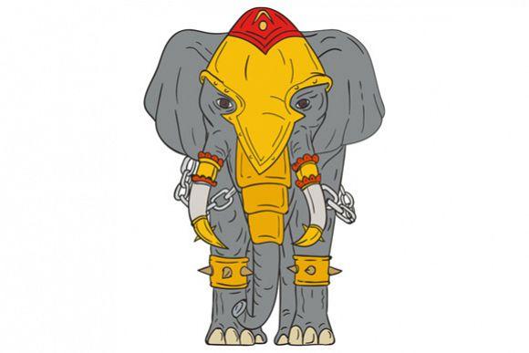 War Elephant Drawing example image 1
